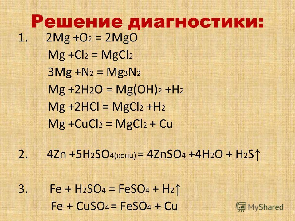 Решение диагностики: 1. 2Mg +O 2 = 2MgO Mg +Cl 2 = MgCl 2 3Mg +N 2 = Mg 3 N 2 Mg +2H 2 O = Mg(OH) 2 +H 2 Mg +2HCl = MgCl 2 +H 2 Mg +CuCl 2 = MgCl 2 + Cu 2. 4Zn +5H 2 SO 4(конц) = 4ZnSO 4 +4H 2 O + H 2 S 3. Fe + H 2 SO 4 = FeSO 4 + H 2 Fe + CuSO 4 = F