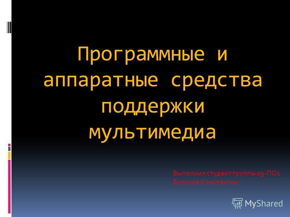 Программные и аппаратные средства поддержки мультимедиа Выполнил студент группы 09-ПО1 Булохов Константин