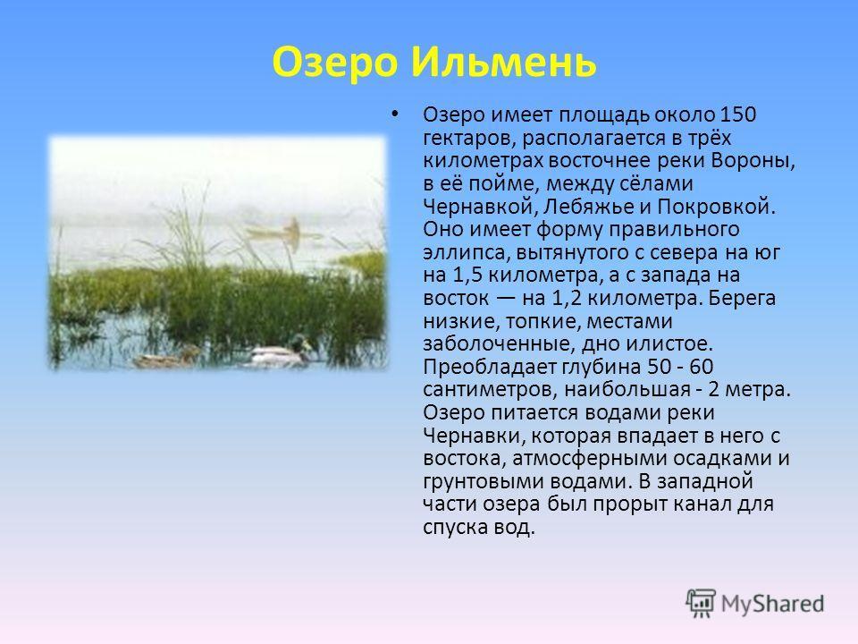 Озеро Ильмень Озеро имеет площадь около 150 гектаров, располагается в трёх километрах восточнее реки Вороны, в её пойме, между сёлами Чернавкой, Лебяжье и Покровкой. Оно имеет форму правильного эллипса, вытянутого с севера на юг на 1,5 километра, а с