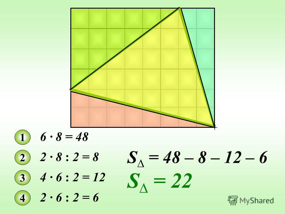 1 6 · 8 = 48 2 2 · 8 : 2 = 8 3 4 · 6 : 2 = 12 4 2 · 6 : 2 = 6 S = 48 – 8 – 12 – 6 S = 22