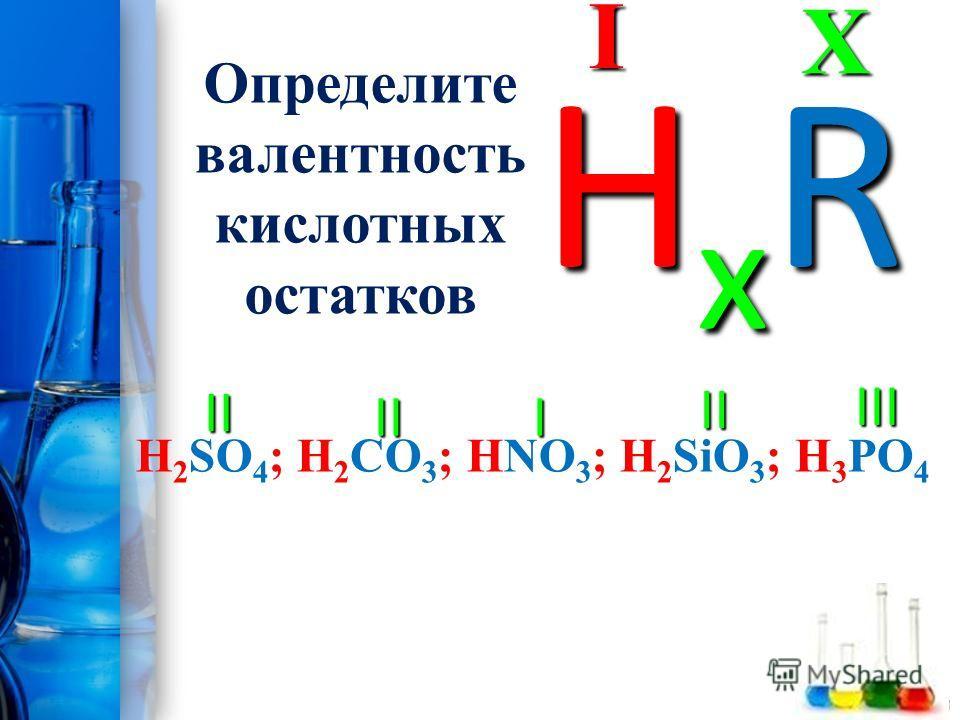 ProPowerPoint.Ru Определите валентность кислотных остатков H 2 SO 4 ; H 2 CO 3 ; HNO 3 ; H 2 SiO 3 ; H 3 PO 4XI HxRHxRHxRHxR II III I II II