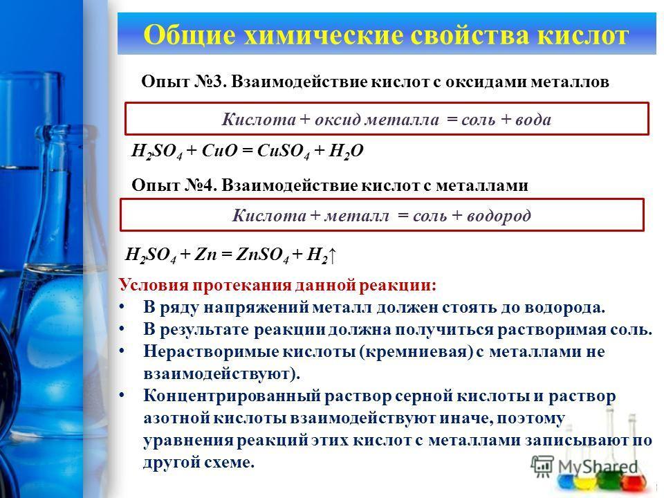 ProPowerPoint.Ru Опыт 3. Взаимодействие кислот с оксидами металлов Кислота + оксид металла = соль + вода H 2 SO 4 + CuO = CuSO 4 + H 2 O Общие химические свойства кислот Опыт 4. Взаимодействие кислот с металлами Кислота + металл = соль + водород H 2