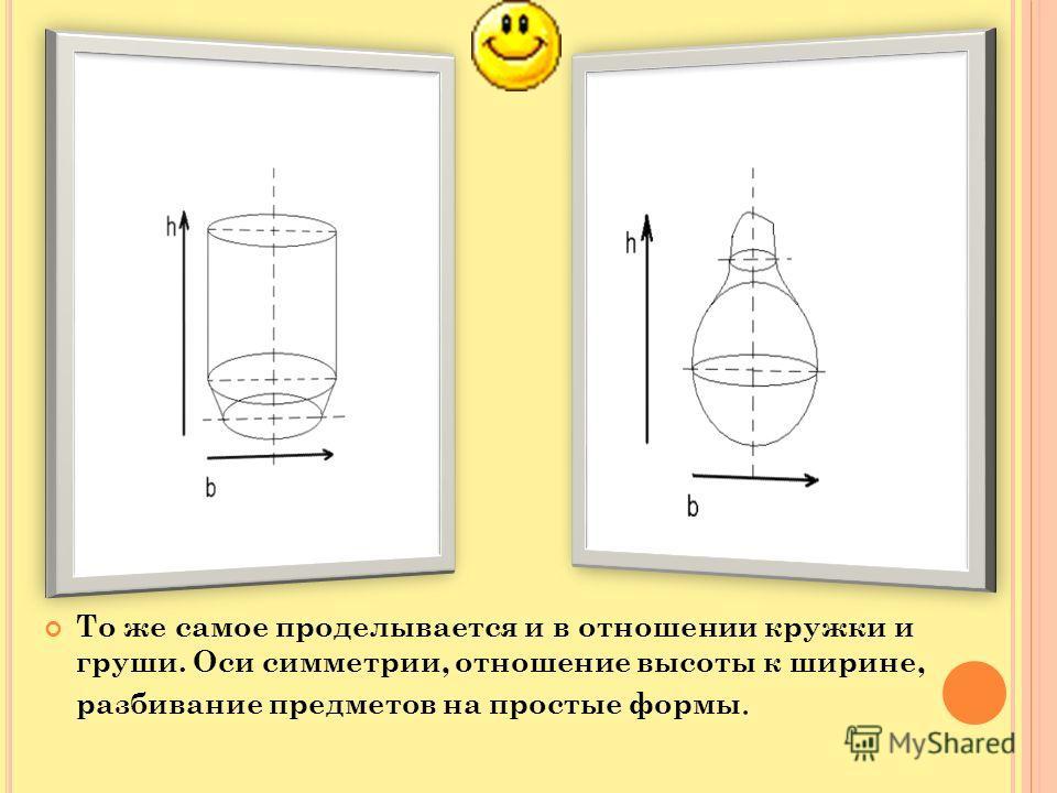 То же самое проделывается и в отношении кружки и груши. Оси симметрии, отношение высоты к ширине, разбивание предметов на простые формы.