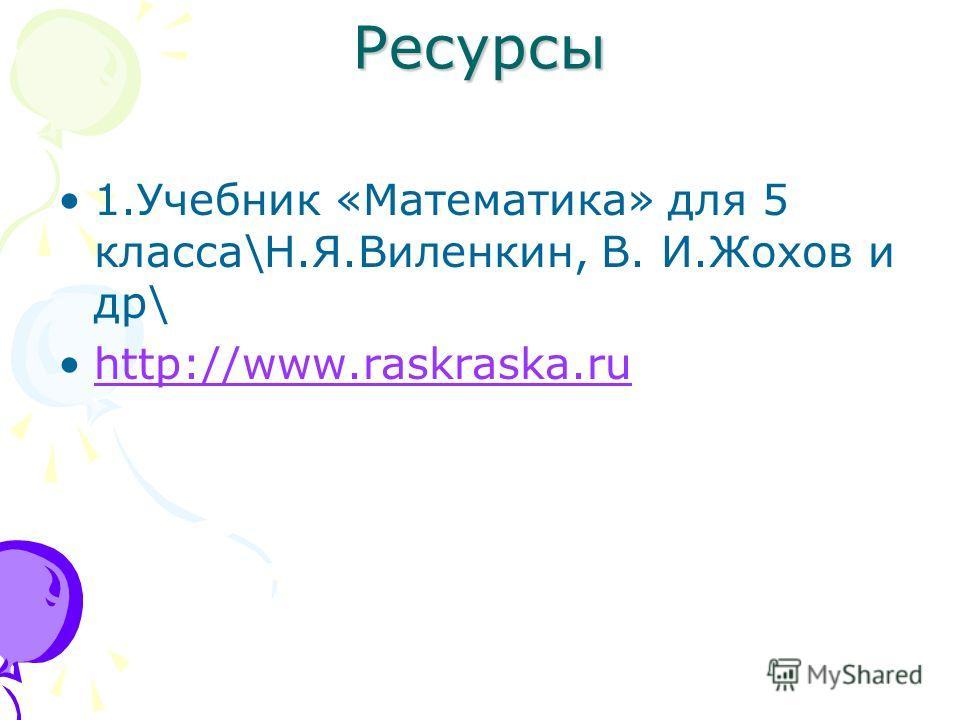 Ресурсы 1.Учебник «Математика» для 5 класса\Н.Я.Виленкин, В. И.Жохов и др\ http://www.raskraska.ru
