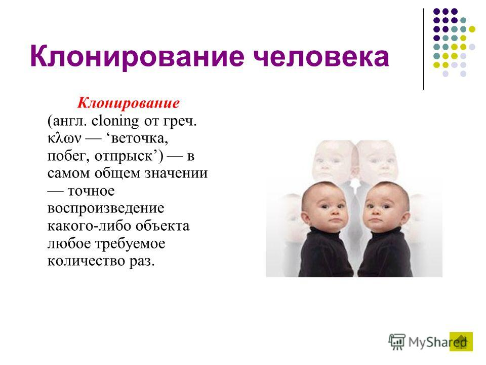 Клонирование человека Клонирование (англ. cloning от греч. κλων веточка, побег, отпрыск) в самом общем значении точное воспроизведение какого-либо объекта любое требуемое количество раз.