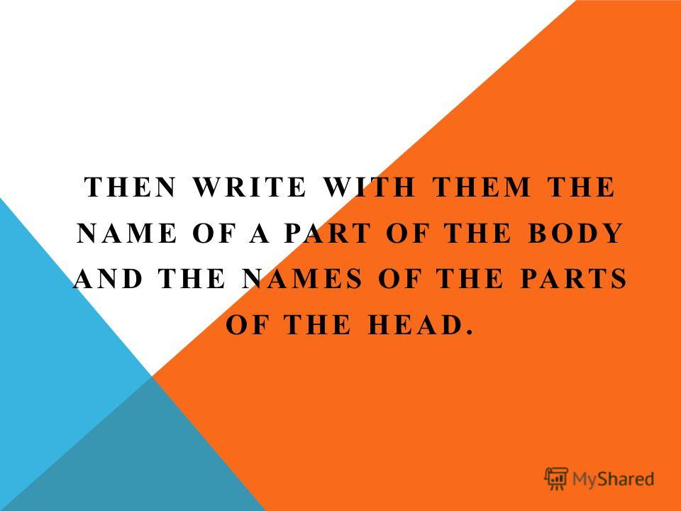 THEN WRITE WITH THEM THE NAME OF A PART OF THE BODY AND THE NAMES OF THE PARTS OF THE HEAD.