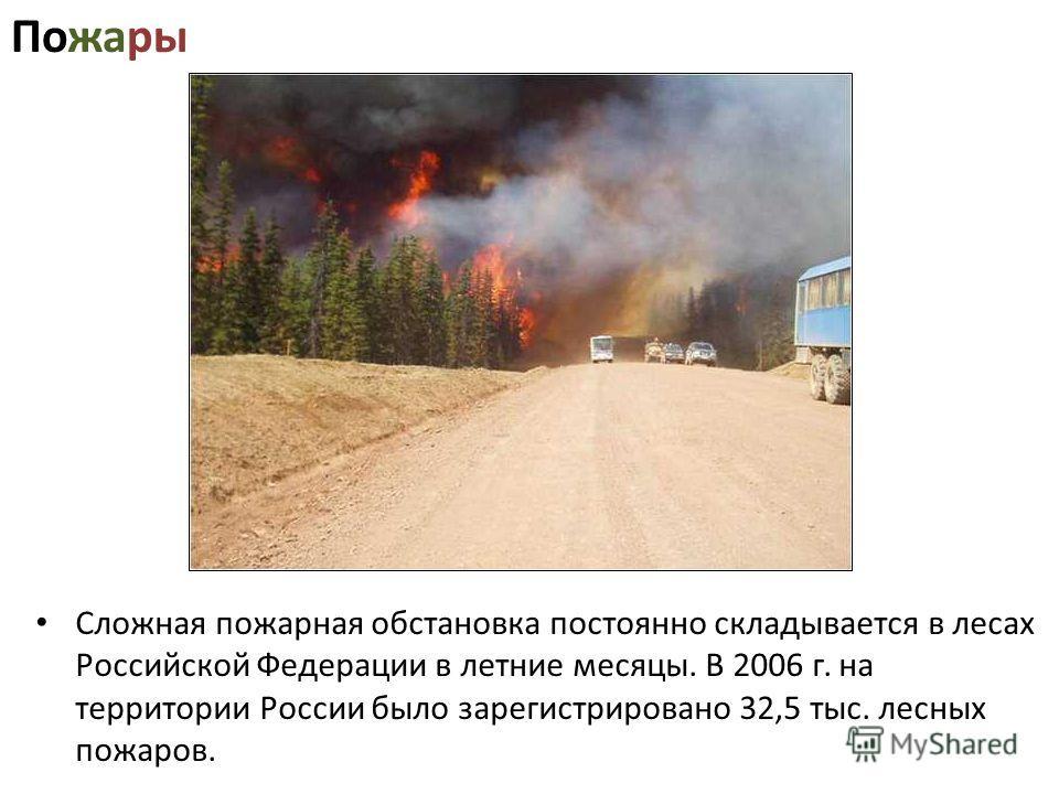 Пожары Сложная пожарная обстановка постоянно складывается в лесах Российской Федерации в летние месяцы. В 2006 г. на территории России было зарегистрировано 32,5 тыс. лесных пожаров.