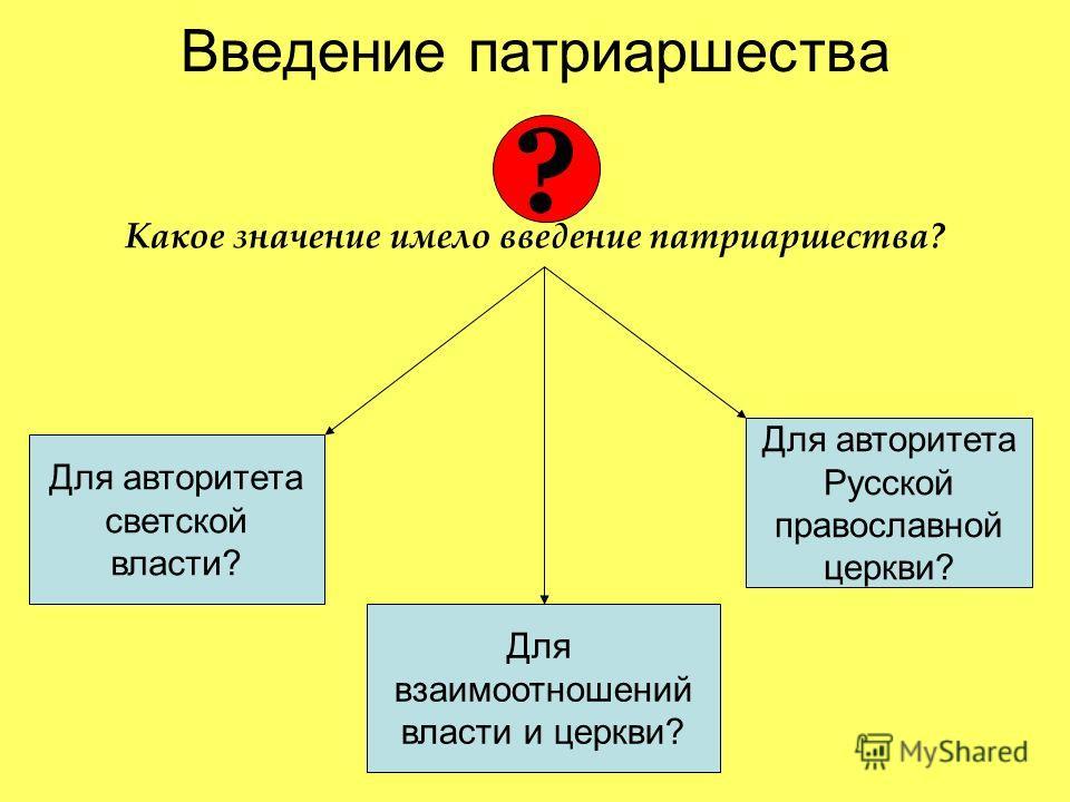 Введение патриаршества Какое значение имело введение патриаршества? ? Для авторитета светской власти? Для авторитета Русской православной церкви? Для взаимоотношений власти и церкви?