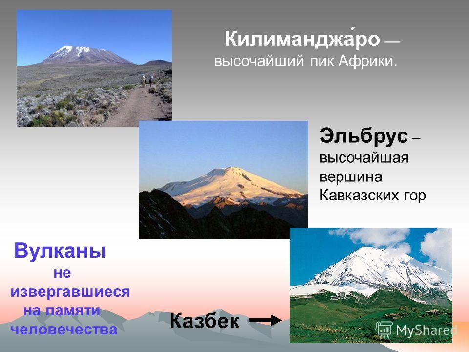 Вулканы ДействующиеПотухшиеУснувшие извержение которых проходило на памяти человечества об их извержении не сохранилось никаких сведений считавшиеся потухшими и вдруг начинают действовать Ключевская сопка Эльбрус Везувий