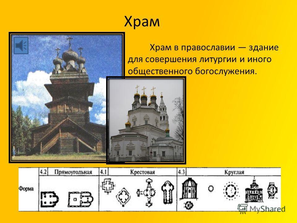 Храм Храм в православии здание для совершения литургии и иного общественного богослужения.