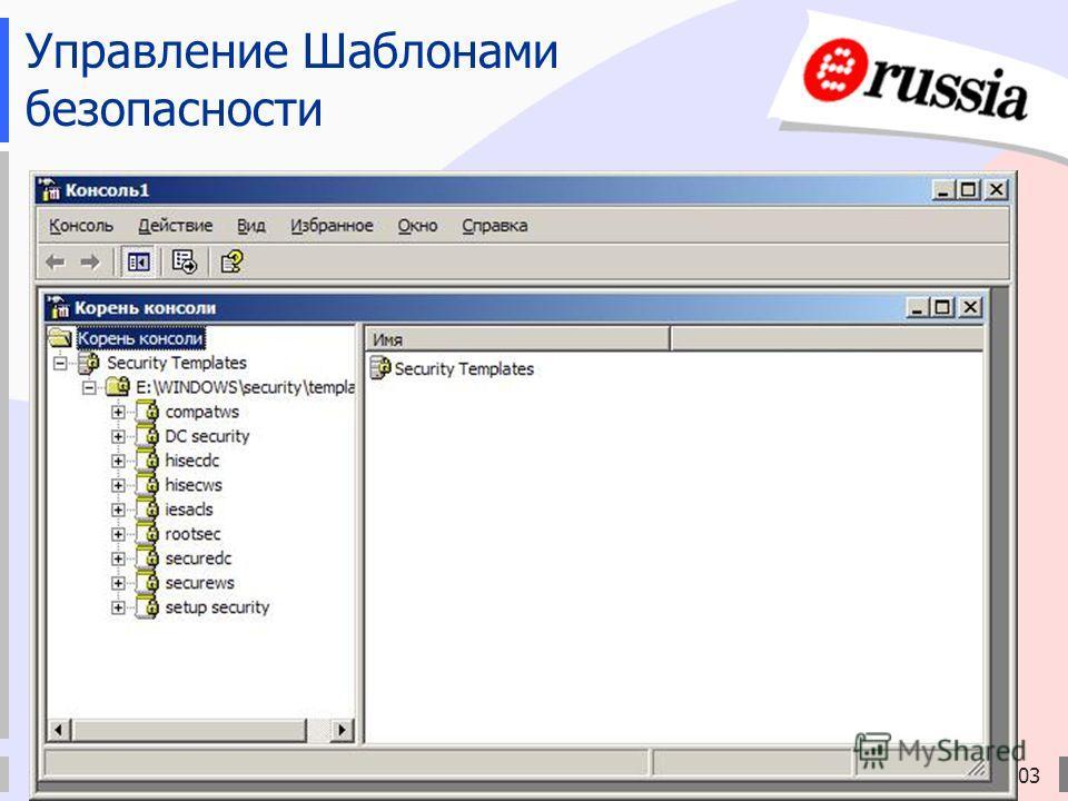 Электронная Россия (2002-2010), ЭР-2003 Управление Шаблонами безопасности