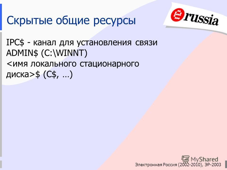 Электронная Россия (2002-2010), ЭР-2003 Скрытые общие ресурсы IPC$ - канал для установления связи ADMIN$ (C:\WINNT) $ (C$, …)