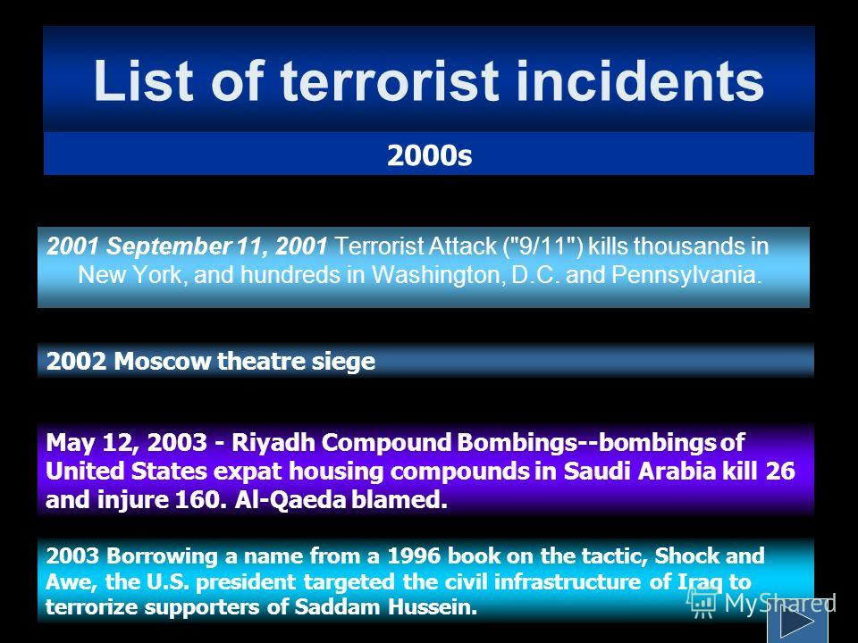 List of terrorist incidents 2001 September 11, 2001 Terrorist Attack (