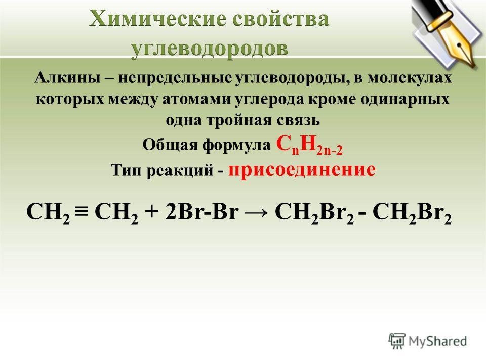 Алкины – непредельные углеводороды, в молекулах которых между атомами углерода кроме одинарных одна тройная связь Общая формула C n H 2n-2 Тип реакций - присоединение СН 2 СН 2 + 2Br-Br СН 2 Br 2 - СН 2 Br 2