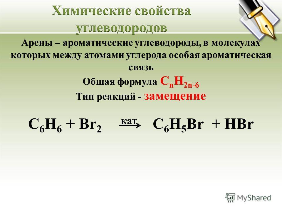 Арены – ароматические углеводороды, в молекулах которых между атомами углерода особая ароматическая связь Общая формула C n H 2n-6 Тип реакций - замещение С 6 Н 6 + Br 2 кат С 6 H 5 Br + HBr