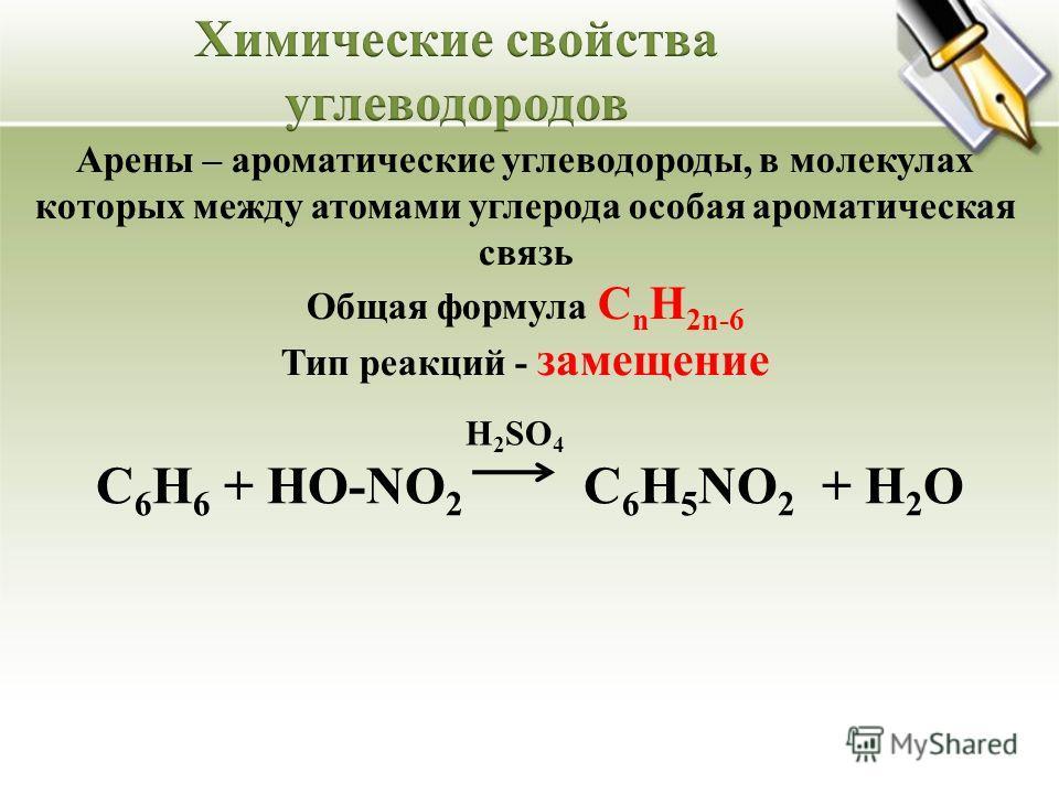 Арены – ароматические углеводороды, в молекулах которых между атомами углерода особая ароматическая связь Общая формула C n H 2n-6 Тип реакций - замещение С 6 Н 6 + HO-NO 2 С 6 H 5 NO 2 + H 2 O H 2 SO 4