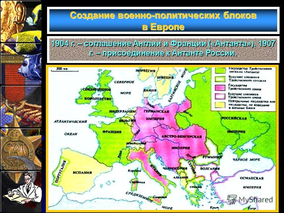 Создание военно-политических блоков в Европе 1904 г. – соглашение Англии и Франции («Антанта»). 1907 г. – присоединение к Антанте России.