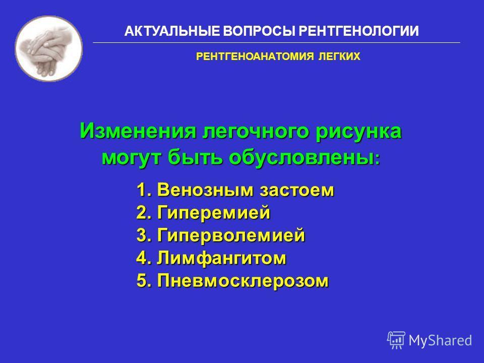 АКТУАЛЬНЫЕ ВОПРОСЫ РЕНТГЕНОЛОГИИ 1. Венозным застоем 2. Гиперемией 3. Гиперволемией 4. Лимфангитом 5. Пневмосклерозом РЕНТГЕНОАНАТОМИЯ ЛЕГКИХ Изменения легочного рисунка могут быть обусловлены :