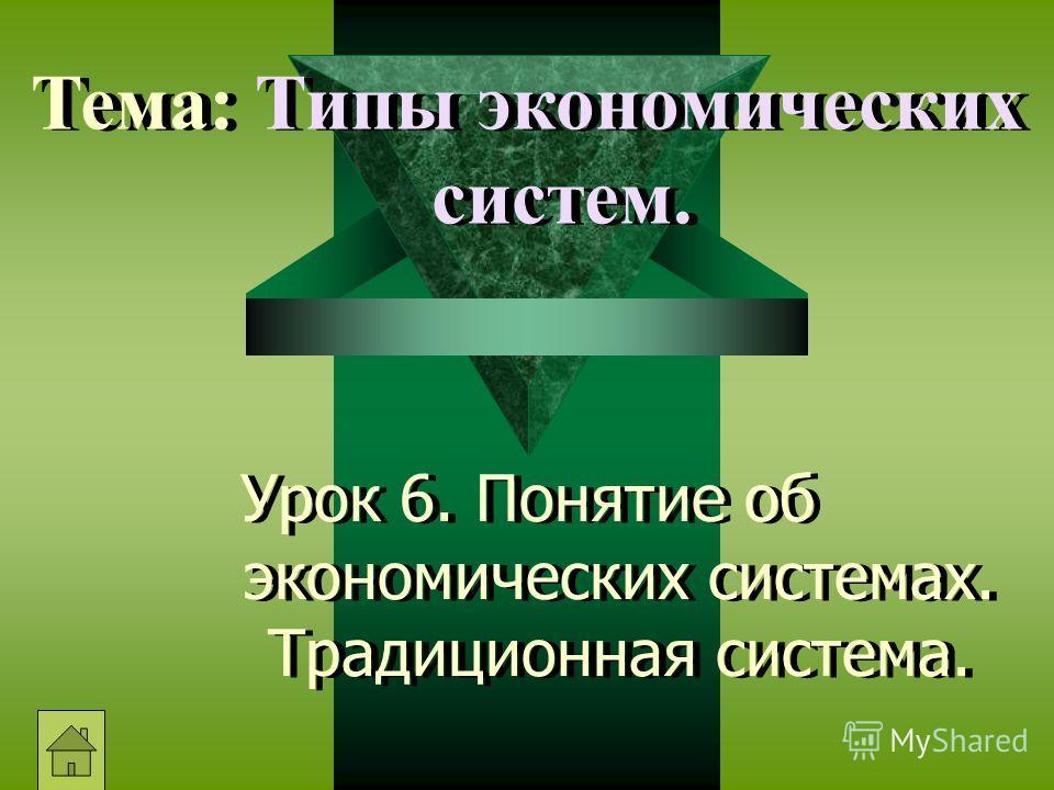 Урок 6. Понятие об экономических системах. Традиционная система. Тема: Типы экономических систем.