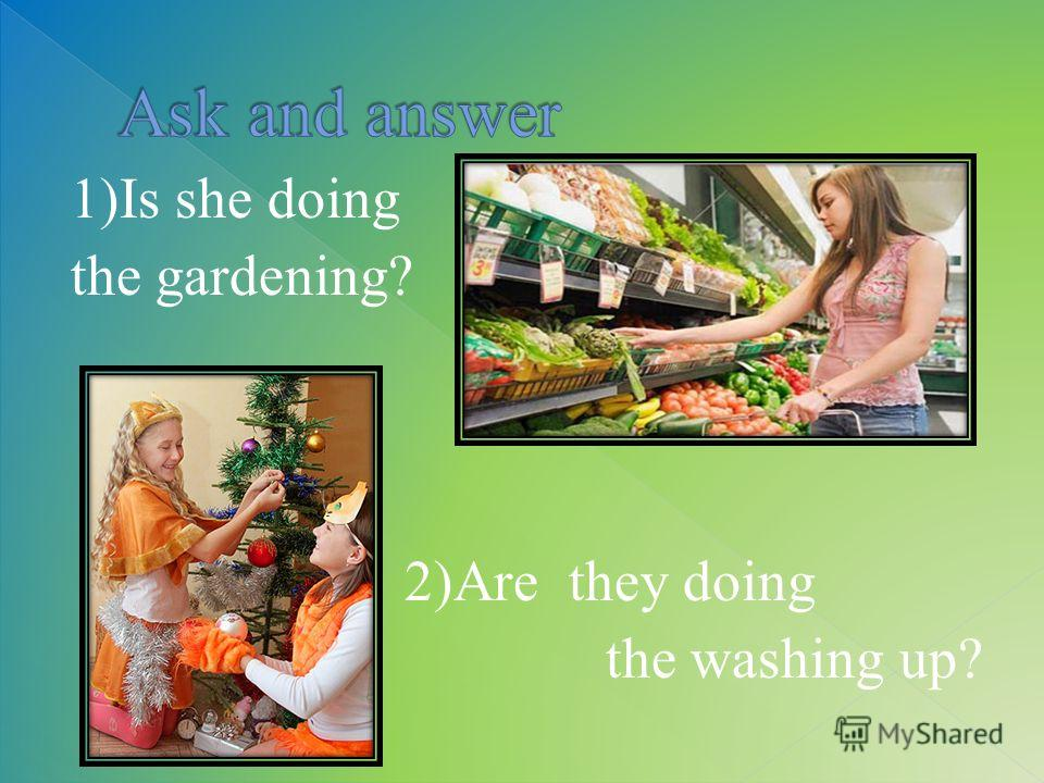 1)Is she doing the gardening? 2)Are they doing the washing up?