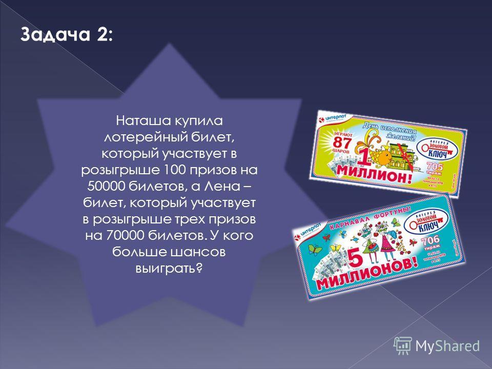 Задача 2: Наташа купила лотерейный билет, который участвует в розыгрыше 100 призов на 50000 билетов, а Лена – билет, который участвует в розыгрыше трех призов на 70000 билетов. У кого больше шансов выиграть?