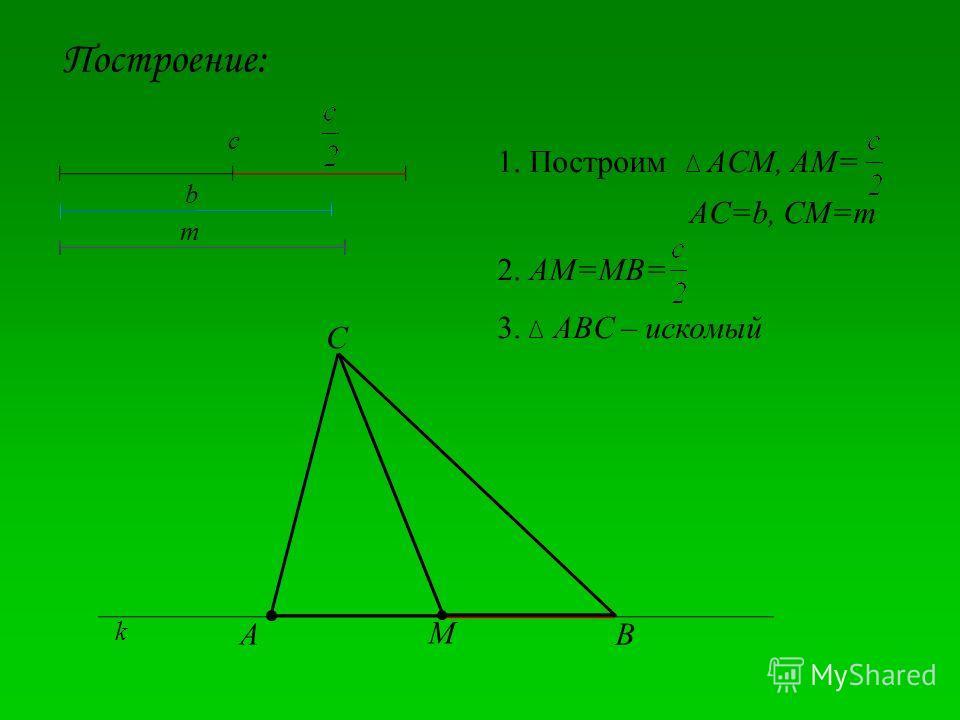 Построение: A M C B c b m 1. Построим ACM, AM= AC=b, CM=m 2. AM=MB= 3. ABC – искомый k