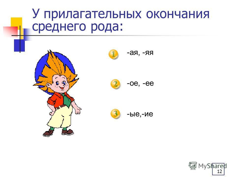 12 У прилагательных окончания среднего рода: -ая, -яя -ое, -ее -ые,-ие