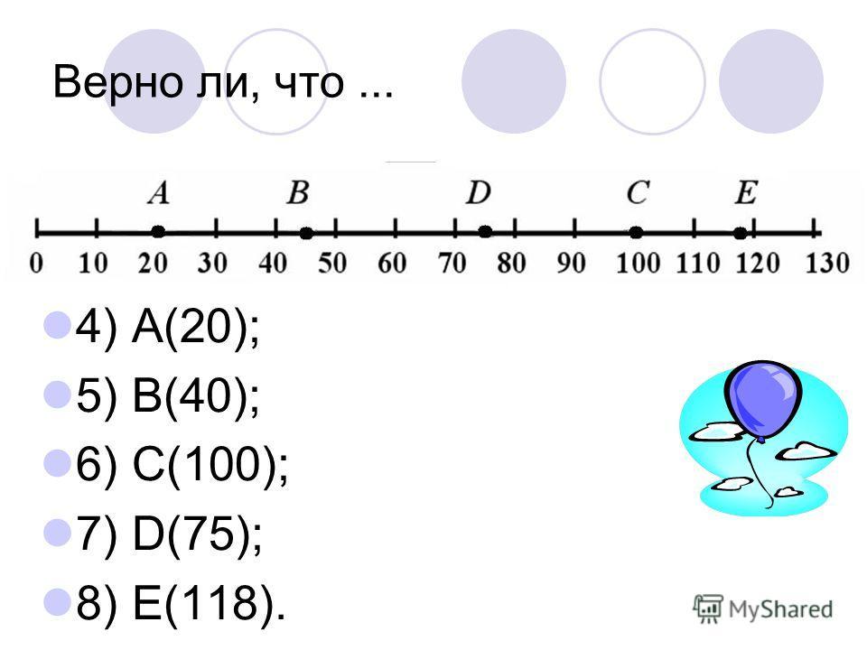 Верно ли, что... 4) А(20); 5) В(40); 6) С(100); 7) D(75); 8) Е(118).