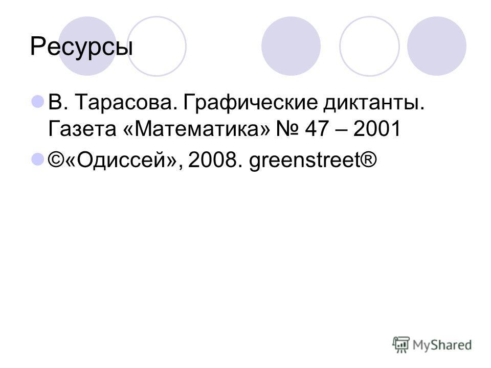 Ресурсы В. Тарасова. Графические диктанты. Газета «Математика» 47 – 2001 ©«Одиссей», 2008. greenstreet®