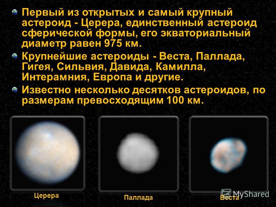 Первый из открытых и самый крупный астероид - Церера, единственный астероид сферической формы, его экваториальный диаметр равен 975 км. Крупнейшие астероиды - Веста, Паллада, Гигея, Сильвия, Давида, Камилла, Интерамния, Европа и другие. Известно неск