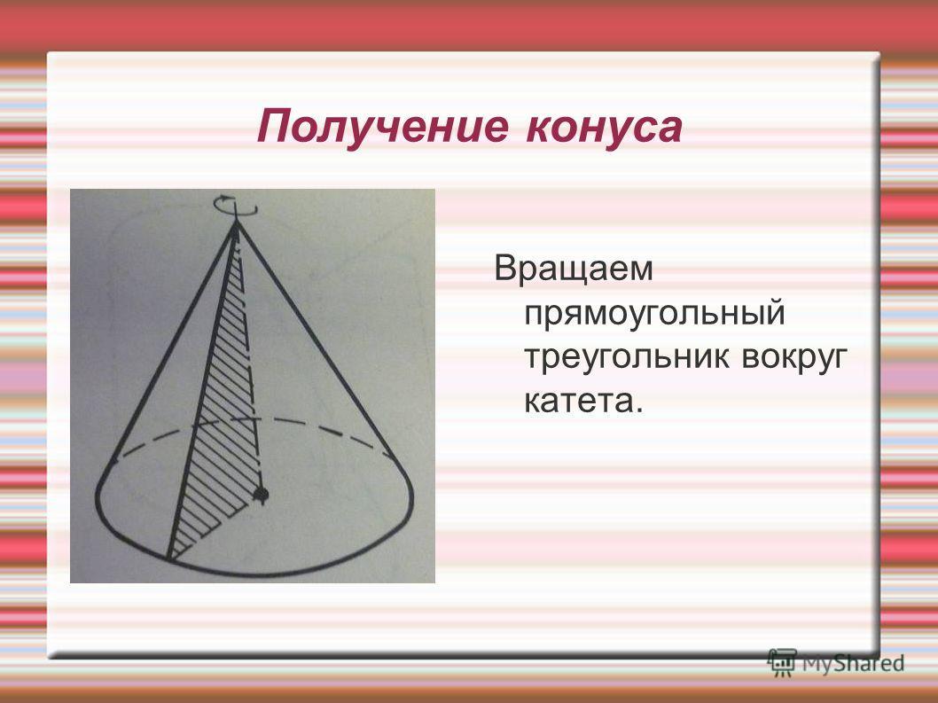 Вращаем прямоугольный треугольник вокруг катета.