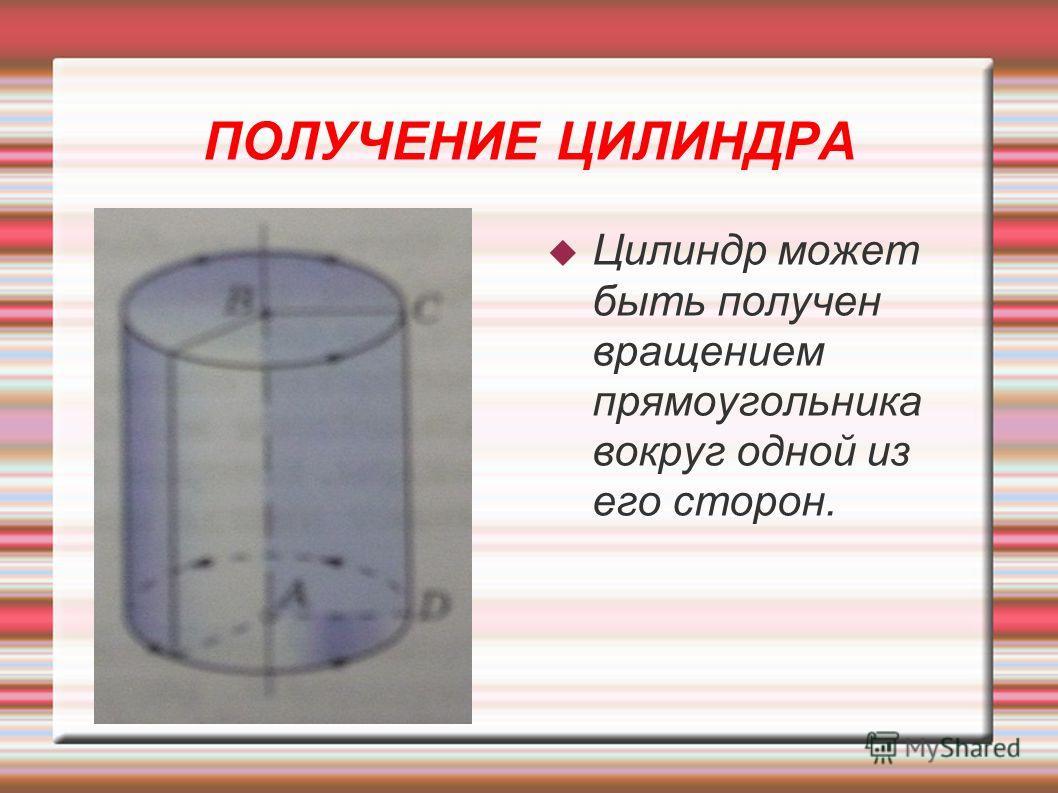 ПОЛУЧЕНИЕ ЦИЛИНДРА Цилиндр может быть получен вращением прямоугольника вокруг одной из его сторон.