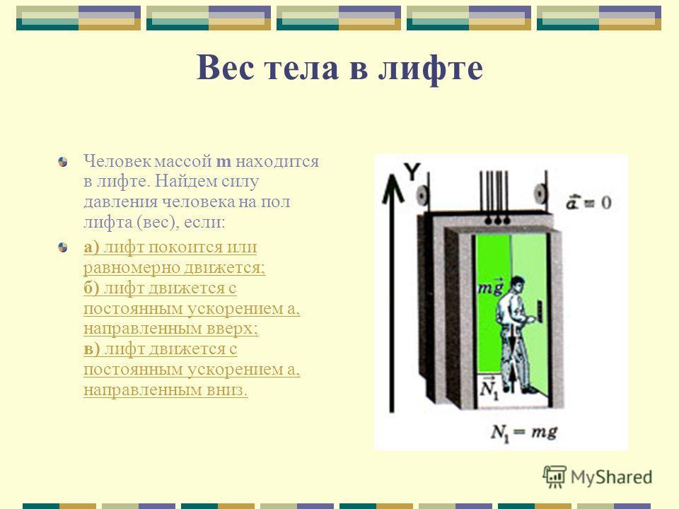 Вес тела в лифте Человек массой m находится в лифте. Найдем силу давления человека на пол лифта (вес), если: а) лифт покоится или равномерно движется; б) лифт движется с постоянным ускорением а, направленным вверх; в) лифт движется с постоянным ускор