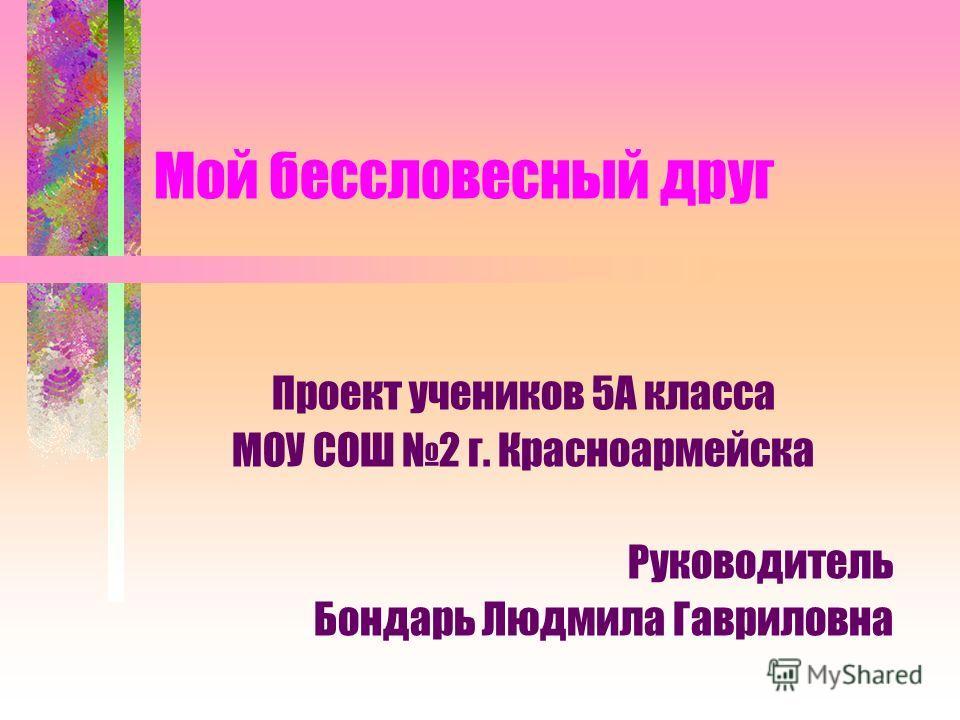 Мой бессловесный друг Проект учеников 5А класса МОУ СОШ 2 г. Красноармейска Руководитель Бондарь Людмила Гавриловна
