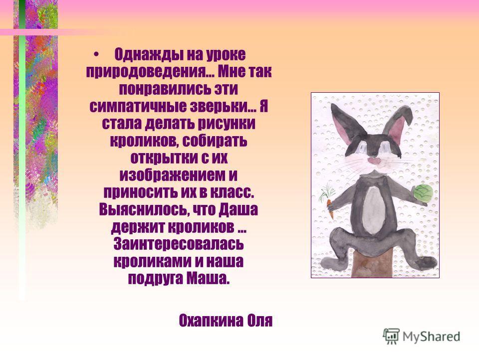 Однажды на уроке природоведения… Мне так понравились эти симпатичные зверьки… Я стала делать рисунки кроликов, собирать открытки с их изображением и приносить их в класс. Выяснилось, что Даша держит кроликов … Заинтересовалась кроликами и наша подруг