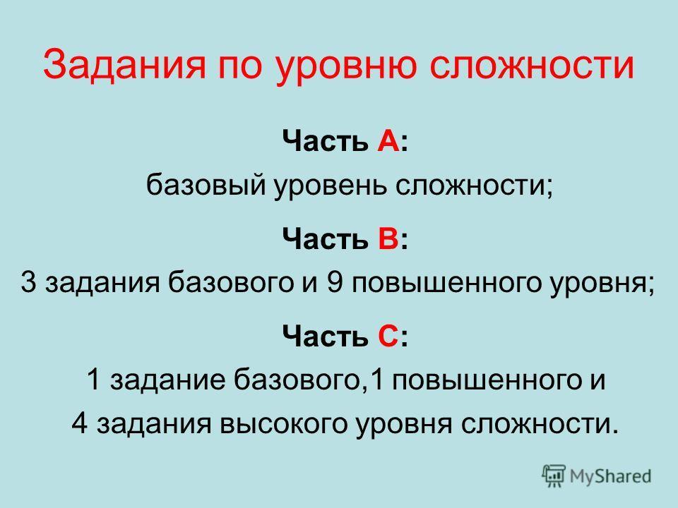 Задания по уровню сложности Часть А: базовый уровень сложности; Часть В: 3 задания базового и 9 повышенного уровня; Часть С: 1 задание базового,1 повышенного и 4 задания высокого уровня сложности.