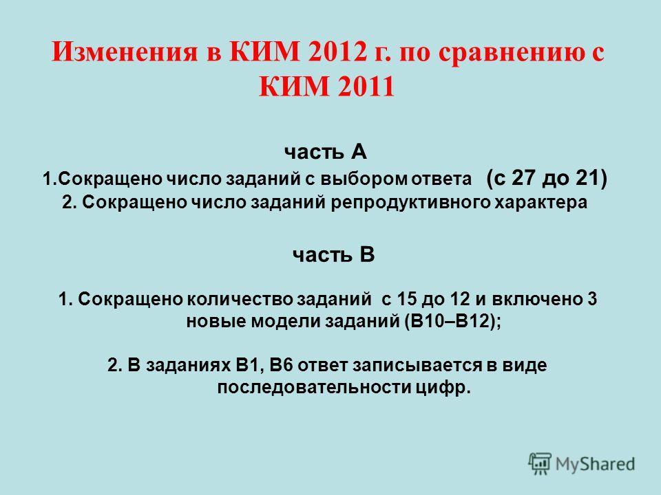 Изменения в КИМ 2012 г. по сравнению с КИМ 2011 часть А 1.Сокращено число заданий с выбором ответа (с 27 до 21) 2. Сокращено число заданий репродуктивного характера часть В 1. Сокращено количество заданий с 15 до 12 и включено 3 новые модели заданий