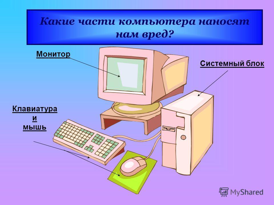 Монитор Клавиатура и мышь Системный блок Какие части компьютера наносят нам вред?