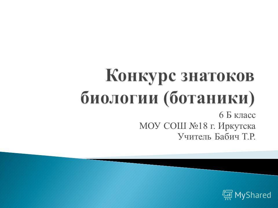 6 Б класс МОУ СОШ 18 г. Иркутска Учитель Бабич Т.Р.