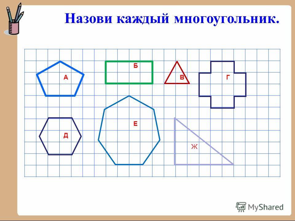 Б АВГ Е Д Ж Назови каждый многоугольник.