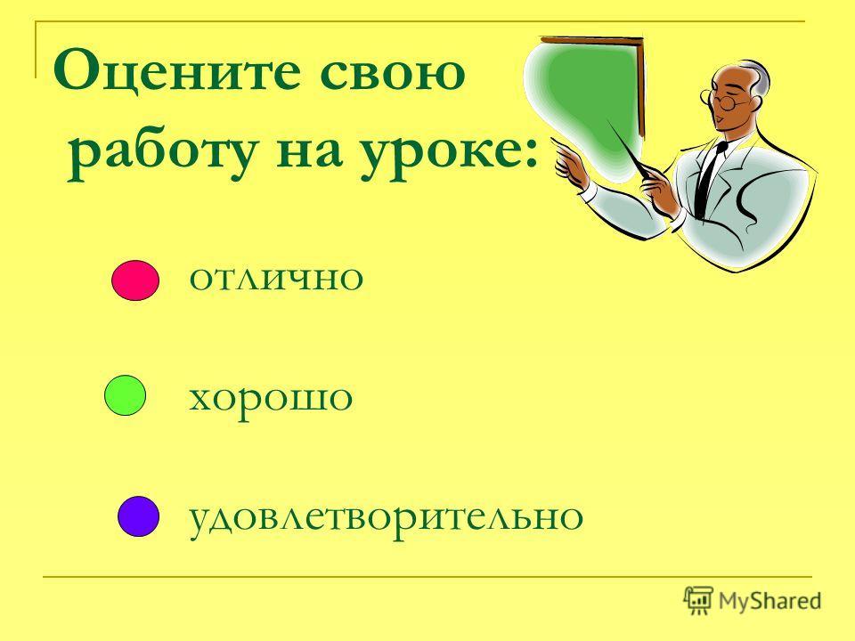 Оцените свою работу на уроке: отлично хорошо удовлетворительно