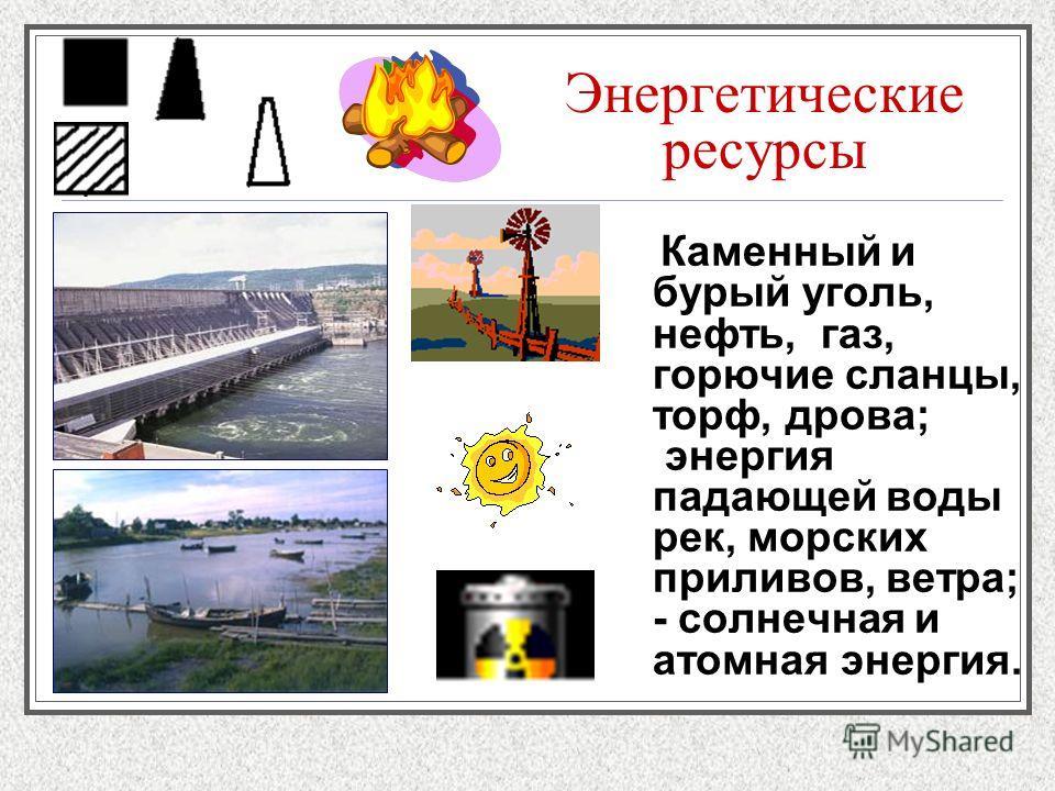 Энергетические ресурсы Каменный и бурый уголь, нефть, газ, горючие сланцы, торф, дрова; энергия падающей воды рек, морских приливов, ветра; - солнечная и атомная энергия.