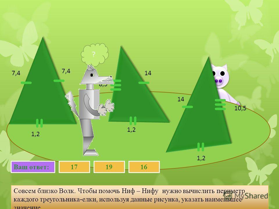 Совсем близко Волк. Чтобы помочь Ниф – Нифу нужно вычислить периметр каждого треугольника-елки, используя данные рисунка, указать наименьшее значение. 7,4 1,2 14 8,5 Ваш ответ:161719 7,4 14 1,2 10,5