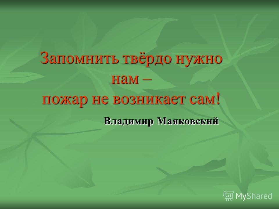 Запомнить твёрдо нужно нам – пожар не возникает сам! Владимир Маяковский