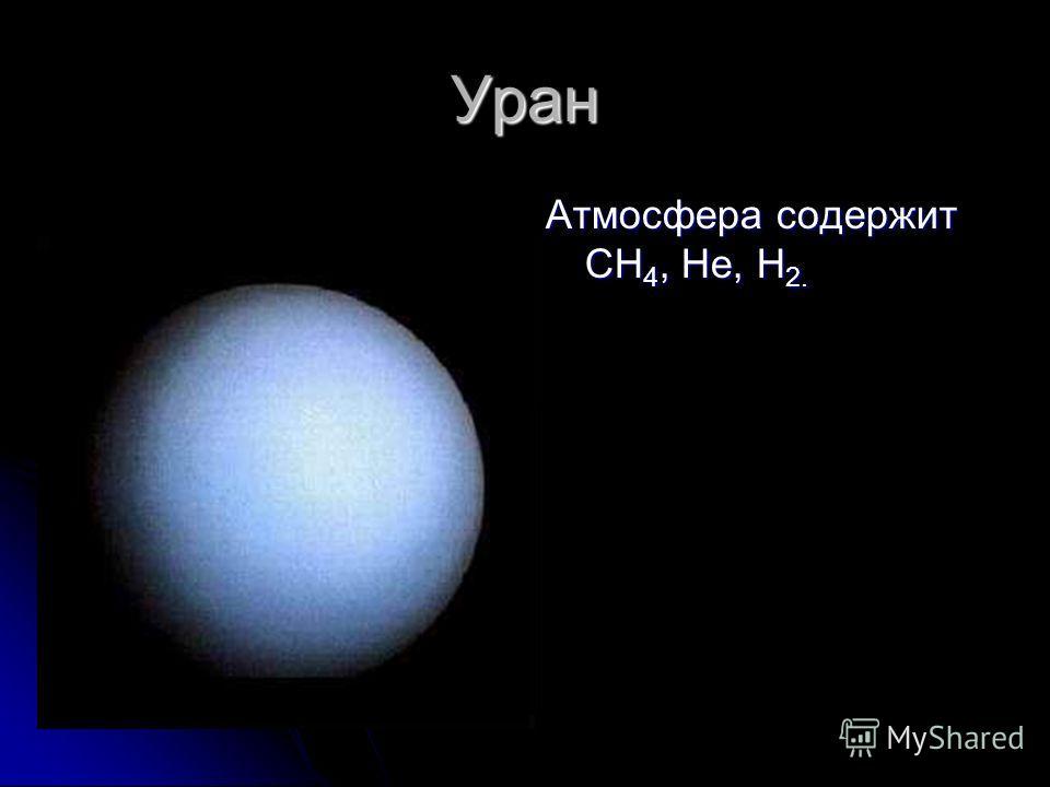 Уран Атмосфера содержит CH 4, He, H 2.