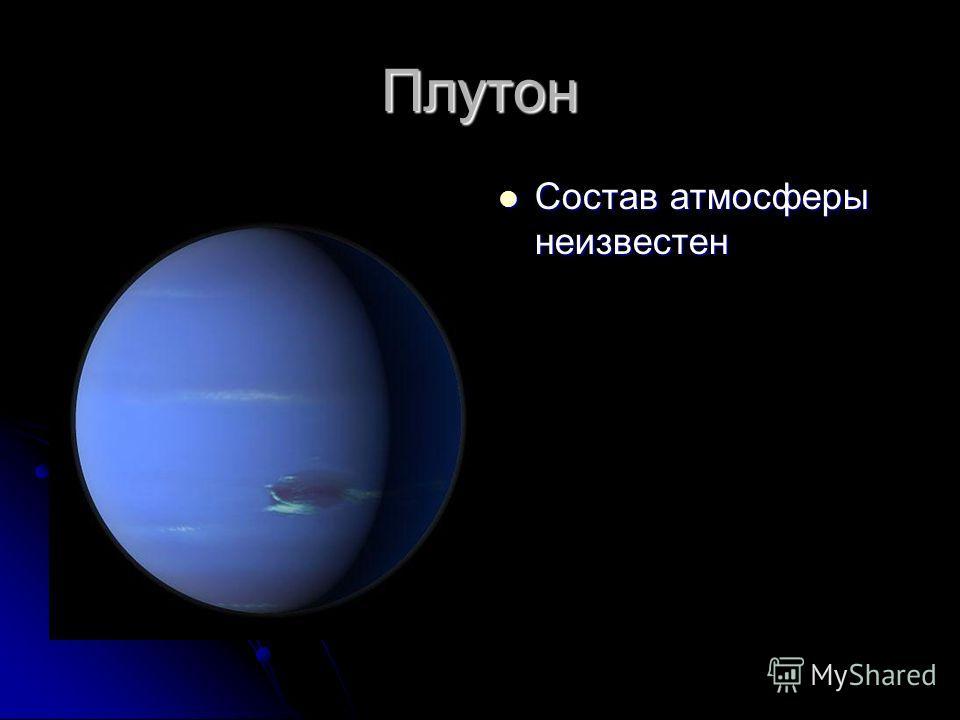 Плутон Состав атмосферы неизвестен Состав атмосферы неизвестен