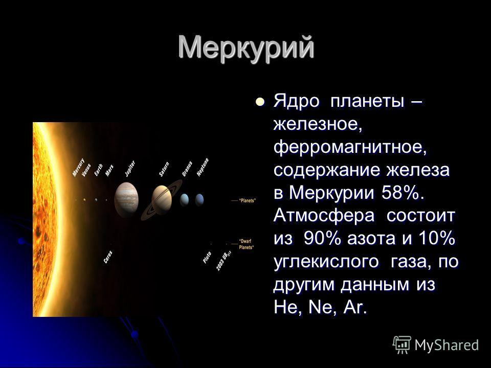Меркурий Ядро планеты – железное, ферромагнитное, содержание железа в Меркурии 58%. Атмосфера состоит из 90% азота и 10% углекислого газа, по другим данным из He, Ne, Ar. Ядро планеты – железное, ферромагнитное, содержание железа в Меркурии 58%. Атмо