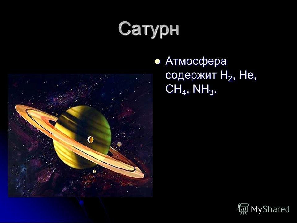 Сатурн Атмосфера содержит H 2, He, CH 4, NH 3. Атмосфера содержит H 2, He, CH 4, NH 3.