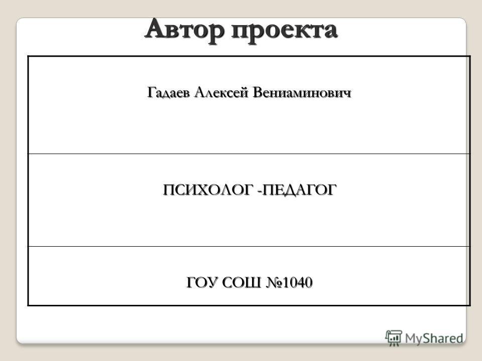 Гадаев Алексей Вениаминович ПСИХОЛОГ -ПЕДАГОГ ГОУ СОШ 1040 Автор проекта