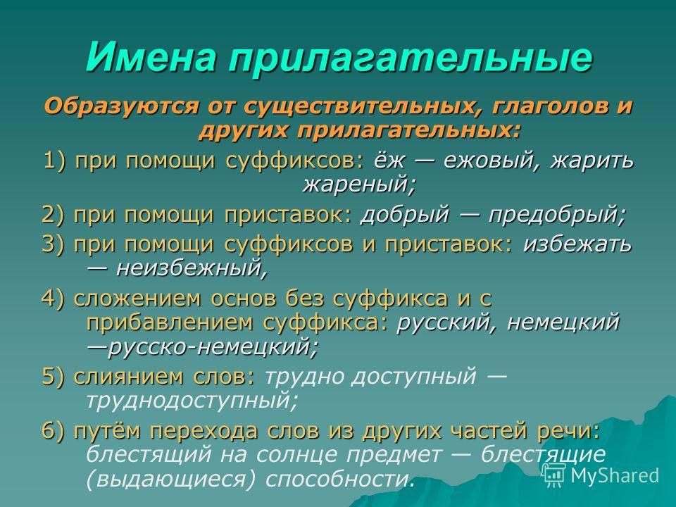 Имена прилагательные Образуются от существительных, глаголов и других прилагательных: 1) при помощи суффиксов: ёж ежовый, жарить жареный; 2) при помощи приставок: добрый предобрый; 3) при помощи суффиксов и приставок: избежать неизбежный, 4) сложение